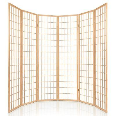 6 Panel Room Divider Folding Privacy Wall Screen Partition Wooden Timber Natural