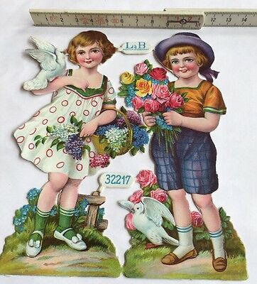 L&B 32217, Oblate,Glanzbilder,die cut scrap, Child,Kinder, Taube, Dove