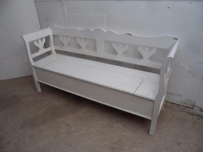 A Classic Antique Pine Shabby Chic Painted White 3 Seater Box Settle/Bench