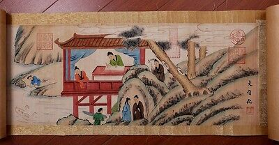 Long Chinese Characters Old Scroll Hand Painting Marked WenBoRen KK116