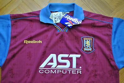 REEBOK vtg Aston Villa 1995-1996 soccer vintage retro new shirt football trikot
