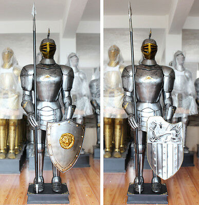 Hand-Made Europea Handcrafted Medieval Crusader Knight in Suit of Armor 6.5'
