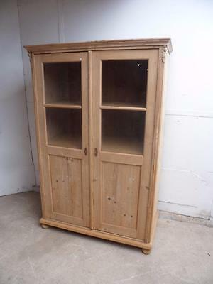 A Large Late Victorian Antique Pine Glazed Display Cabinet/ Dresser to Wax/Paint