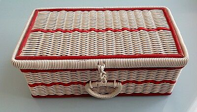 Vintage Sewing Craft Box In White & Red Woven Plastic, Lined In Red