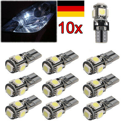 10 x LED 5 SMD W5W Auto  Glassockel CANBUS Standlicht Beleuchtung Lampe Weiß