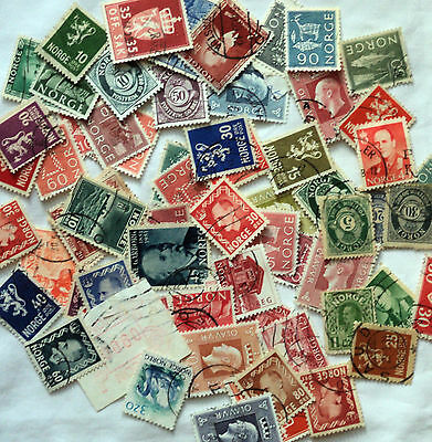 Bag of 74 Norway Stamps mixed lot