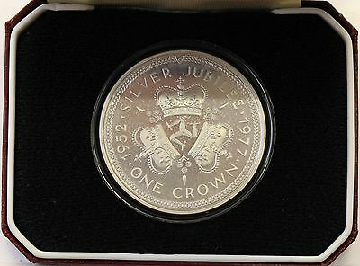 Isle of Man 1977 Boxed Sterling Silver Proof  25p Crown, Silver Jubilee. inc.COA