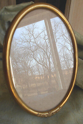 VTG ANTIQUE VICTORIAN PHOTO PICTURE FRAME GOLD/BRASS METAL~OVAL-Easel Stand