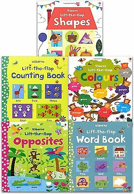 Usborne Lift the Flap Collection 5 Books Set Counting, Word Book, Shape, Colours