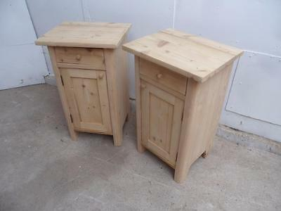 A Mint Clean Pair of Antique Pine Rounded Edge Bedside Cabinets to Wax/Paint
