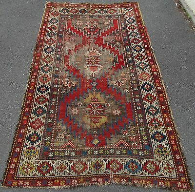 Antique Country House Shabby Chic Persian Kurdish Rug Dog