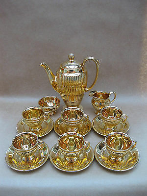Royal Winton Vintage Coffee Set ~ Gold Lustre / Ribbed ~ 1950's ~ 15 Pieces