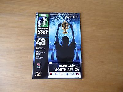 Rugby World Cup 2007 programme England v South Africa FINAL