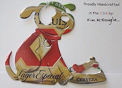 Dog Handmade Christmas Ornament Recycled Aluminum Metal DE Mexican Beer Can Art
