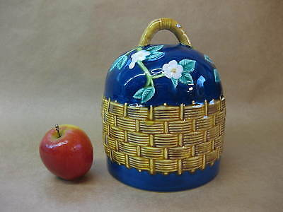 Vintage Majolica Cheese Dome ~ Moulded Basket Weave & Flowers