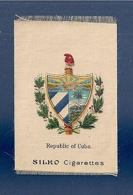 CUBA Republica de Cuba  original 1910 Cuba National Coat of Arms printed on silk