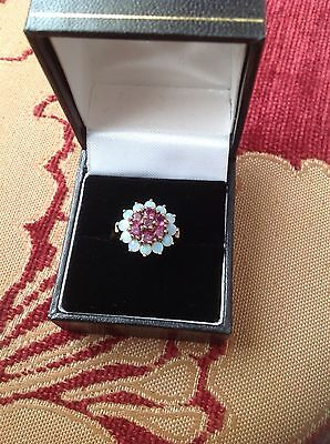 QVC 9ct gold semi-precious ruby and White Opal cluster ring, size R