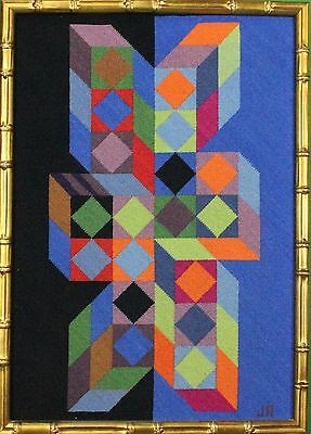 """Fab, Custom Vasarely 'Geometric' Needlepoint Framed Artwork"""