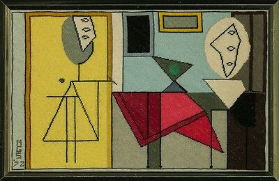 """Fab, Custom- Picasso Abstract Needlepoint Framed Canvas"""