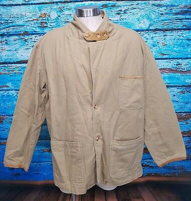 Orvis Zambezi Fishing Hunting Cotton Twill Leather Safari Field Jacket Mens XL