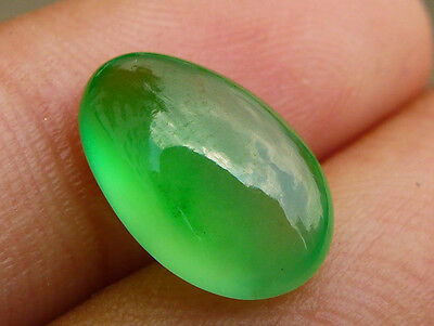 High Quality Natural Untreated Green Glassy Jadeite Jade Type A Cabochon