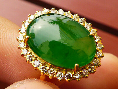 AIGS Certify Natural Untreated Green Glassy Jadeite Jade Type A Ring & Diamond
