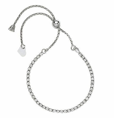 Sterling Silver CZ Friendship Bracelet With Heart Charm Tassel Toggle