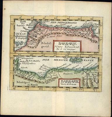 Barbary Coast North Africa Morocco Algeria Tunisia 1682 du Val old antique map
