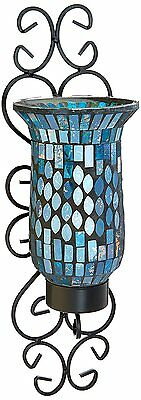 Wall Sconce Candle Holder Light, Hanging Decor, Mosaic Glass & Metal Stand New
