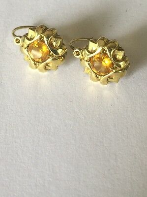 Vintage K&l Rolled Gold And Citrine Paste Earrings