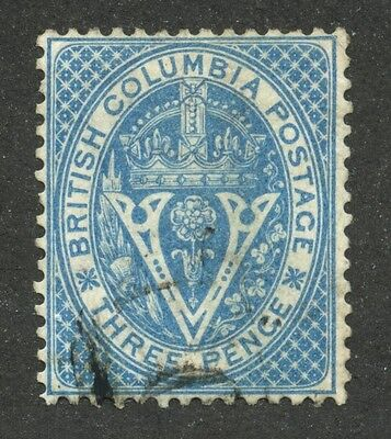 British Columbia 1865 Seal of BC 3d blue #7 VF used