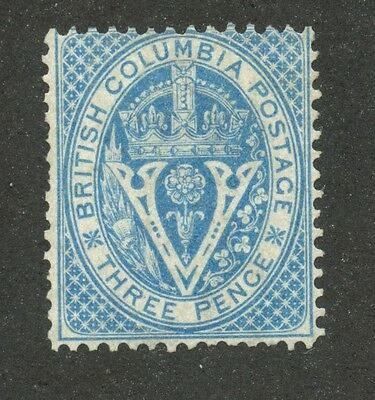 British Columbia 1865 Seal of BC 3d pale blue #7a Mint