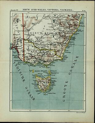 Tasmania Van Diemen Land Australia old antique 1882 detailed color map