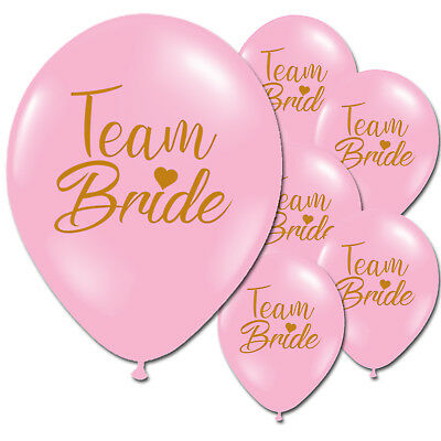 10 Team Bride White Pink Hen Night Do Party Wedding Latex Printed Balloons