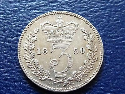 Queen Victoria Silver Threepence 1850 Very Nice Great Britain Uk