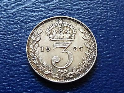 George V Silver Threepence 1927 3D Maundy Issue Rarer Than Proof Great Britain