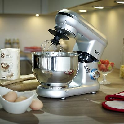 Dihl 1260W Silver 6 Speed Food Electric Stand Mixer 5.5L Bowl, Dough Hook