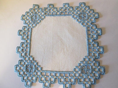 Hardanger Doily Norwegian Embroidery White with Blue -  Hand Made