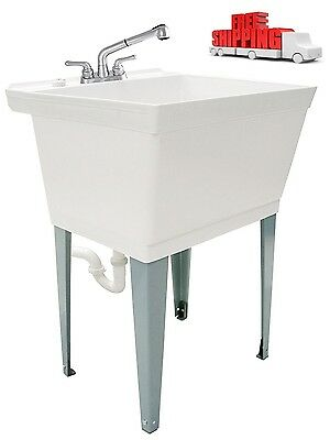 Hand Wash Sink Washing Kitchen Heavy Duty 19 Gallon Laundry, a pull out Faucet !