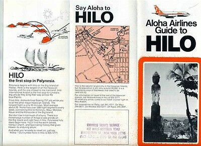Aloha Airlines Guide to Hilo Hawaii Brochure