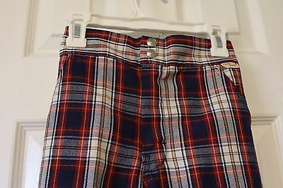 "EUC Vintage JCPenney Plaid Girls Pants ""super denim"" Blue Red size 6x"
