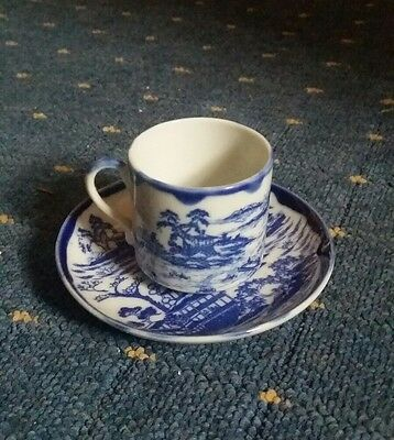 an old chinese blue and white cup and saucer