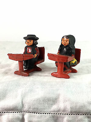 Vintage Cast Iron Toy - Two Amish? Children Sitting At School Desks