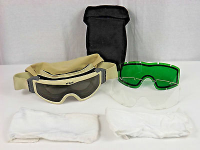 New Military Ess Desert Tan Goggles Kit Clear Dark Green Safety 4240-01-504-5727