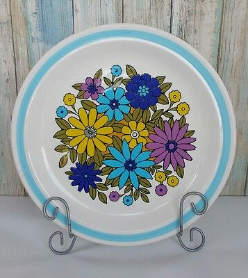 Nikko Ironstone Montage Floral Blue Band Dinner  plate Flowers Cosmopolitan