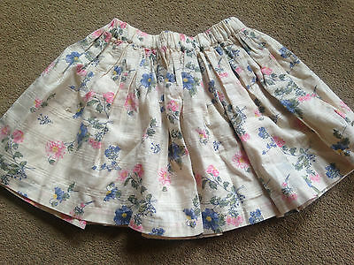BNWT NEXT Girls Cotton Cream Floral Lined Skirt 2-3 Years 98cm