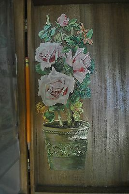 "VICTORIAN EMBOSSED LARGE (OVER 11"" high) DIE CUT SCRAP, POTTED PINK ROSE BUSH"