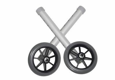 """Caster Rubber Wheels for Mobility Walkers - Universal Fit - 5"""" - (Holds 350 lbs)"""