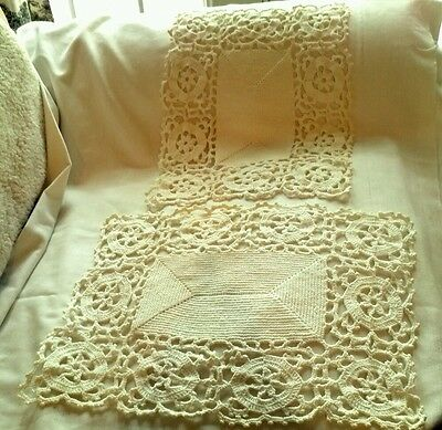 Two Beautiful  Heavy White Crocheted Place Mats