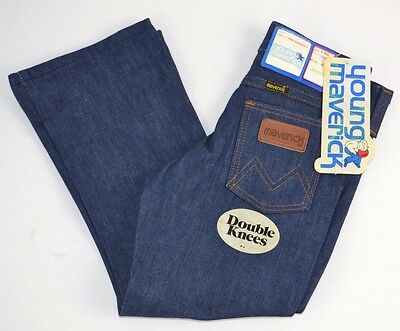 Vtg  MAVERICK Blue Bell Boys Toddler Dark Blue Denim Jeans Double Knees 4 - NOS